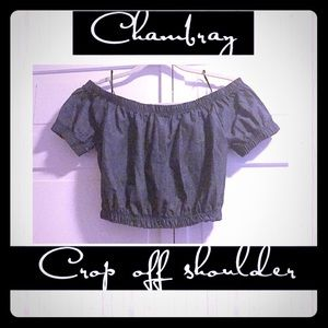 Chambray dark blue cropped top